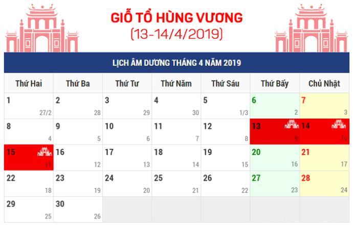 lich nghi gio to hung vuong va 30/4 - 1/5